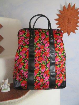 50s 60s Vintage Übergroße Handtasche - Schwarz Rot Grün Floral Weekender - Shopper Koffer - Hippie Birkin Bag