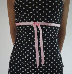 50s Rockabilly Kleid von Lolita Girl Clothing, S-XS, Polkadots, schwarz, rosa Schleife