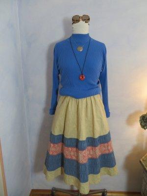 50s Vintage Parisienne Ribbon Skirt High Waist Pastell Gelb Blau Rosa XXS zierlich Paris France
