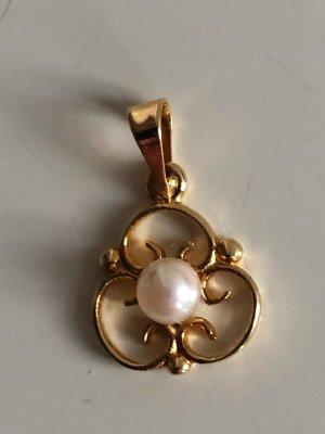 585 Gold Anhänger Goldanhänger Perle Juwelierstück Meisterpunze