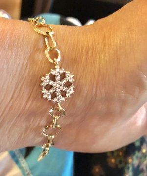 585 Gold Armband Kleeblatt mit Sternflocken