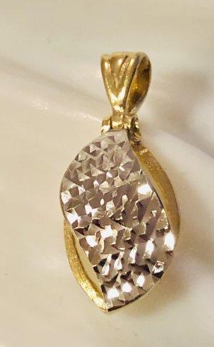 585 Gold diamantierter Bicoloranhänger