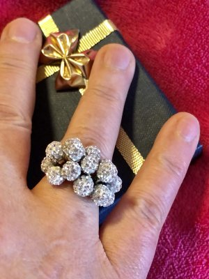 Echtgold Pierścionek z ozdobnym kamieniem złoto-biały