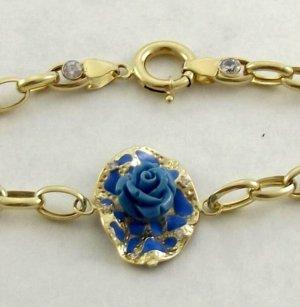 Echtgold Gouden armband goud-cadet blauw