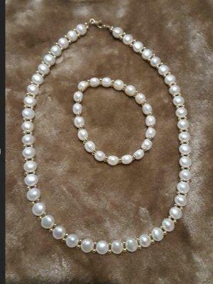 585 Goldkette+Armband mit Perlen