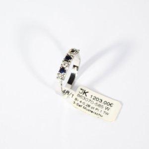585 Weißgold Ring. 4 Brillanten 3 Saphire Blau. Gr.53 UVP 1203€ Made in Germany