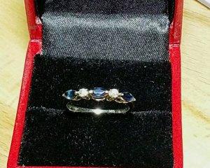 585 Weißgold Ring, Saphire, Diamanten