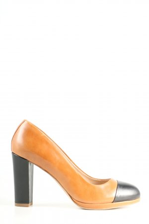 5th Avenue High Heels hellorange-schwarz Business-Look