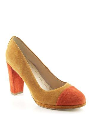 5th Avenue High Heels ocker-dunkelorange Colourblocking Street-Fashion-Look