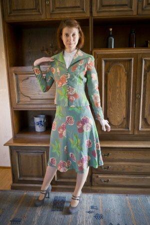 60er 70er Jahre Betty Barclay Kostüm Zweiteiler Grün Blumen Rosen Rosa XXS 32