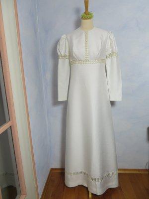 60er 70er Jahre Vintage Hochzeitskleid Creme Weiss - Gr. 36 - Kleemeier Hof Brautkleid - Puff Ärmel Spitze Empirekleid