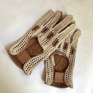 Vintage Net handschoenen room-bruin