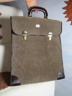 True Vintage Weekender Bag grey brown-brown leather