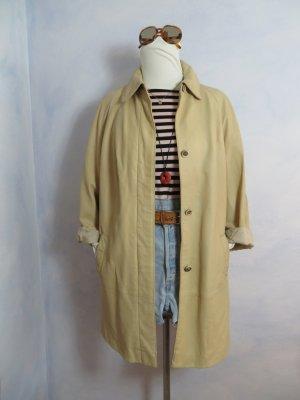 60s 70s Vintage Neusa Ledermantel Pastell Vanille Creme Parka Long Leder Jacke Clean Chic S M L