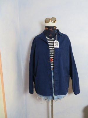 60s Vintage Blau Echt Vietnam Arbeitshemd Workwear Jacke Baumwoll - S M L - Overshirt Twilljacke