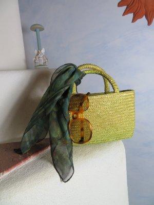 Vintage Bolso tipo cesta amarillo limón