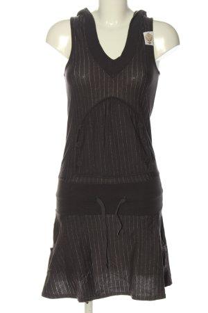 667 Hooded Dress brown-natural white striped pattern vintage look