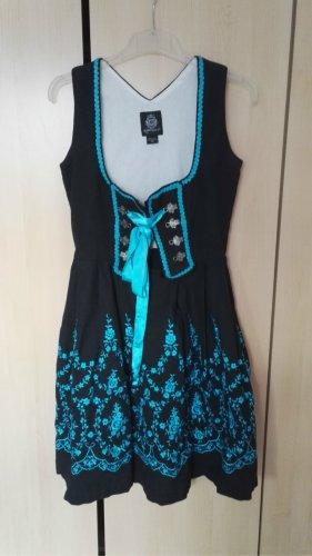 Almenrausch Robe à corsage noir-bleu clair