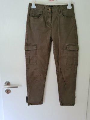 123 Paris Spodnie 7/8 zielono-szary Bawełna