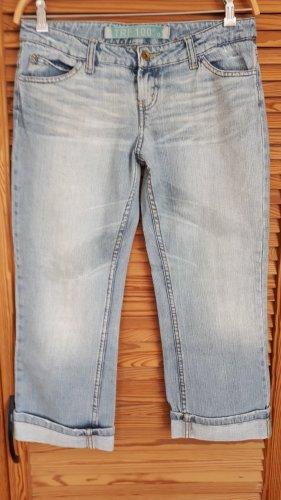 TRF Jeansy 7/8 błękitny Bawełna