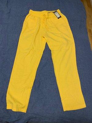 Vero Moda Lniane spodnie Wielokolorowy Len