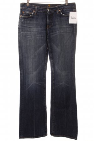 7 For All Mankind Boot Cut Jeans dunkelblau-wollweiß Washed-Optik