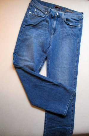 7 For All Mankind Hoge taille jeans blauw-donkerblauw Katoen