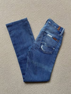 7 For All Mankind Jeansy z prostymi nogawkami chabrowy
