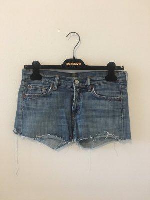 7 for all mankind Denim Jeans Shorts kurz Hose Hot Pants blau hell Stretch elastisch  27 34
