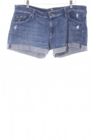 7 For All Mankind Hot Pants stahlblau Washed-Optik