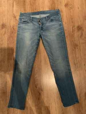 7 For All Mankind Jeans 7/8 bleu fluo coton