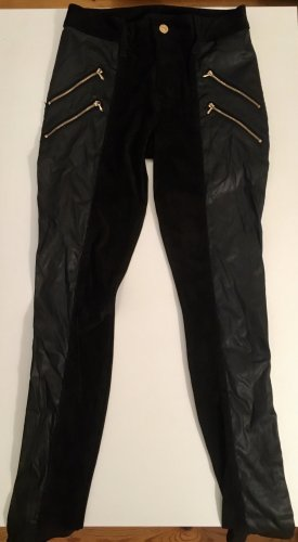7 For All Mankind Leather Trousers black-gold-colored