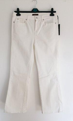 7 For all Mankind Jeans Gr. W30 Weiß Damen Denim Cropped Boot Slim fit Hose Sommer Neu