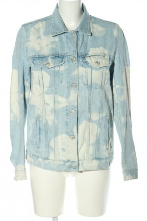 7 For All Mankind Jeansjacke blau-creme abstraktes Muster Casual-Look