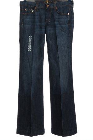 7 For All Mankind Jeansschlaghose blau Schriftzug gedruckt Casual-Look