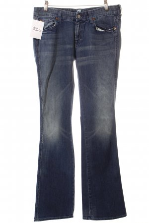 7 For All Mankind Jeansschlaghose blau-wollweiß Washed-Optik