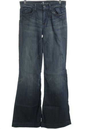 7 For All Mankind Jeansschlaghose dunkelblau Logo-Applikation