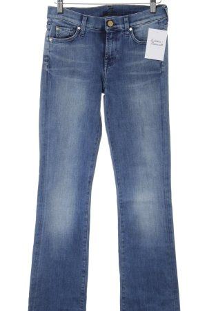 7 For All Mankind Jeansschlaghose stahlblau Used-Optik