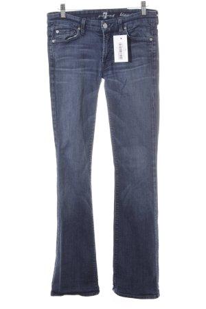 7 For All Mankind Jeansschlaghose stahlblau Washed-Optik