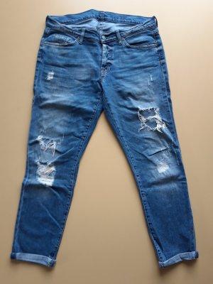 7 For All Mankind Jeans boyfriend bleu acier coton