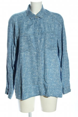7 For All Mankind Oversized Bluse blau-wollweiß Allover-Druck Casual-Look