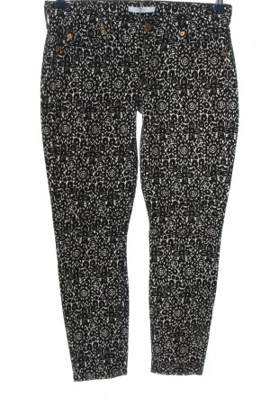 7 For All Mankind Drainpipe Trousers black-white allover print casual look