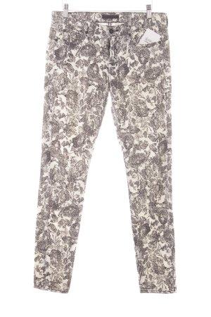 7 For All Mankind Röhrenhose wollweiß-schwarz Blumenmuster Jeans-Optik