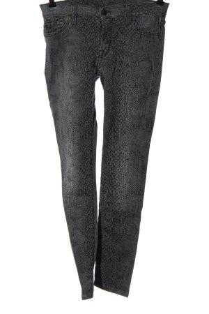 7 For All Mankind Jeans cigarette gris clair-noir motif animal style festif