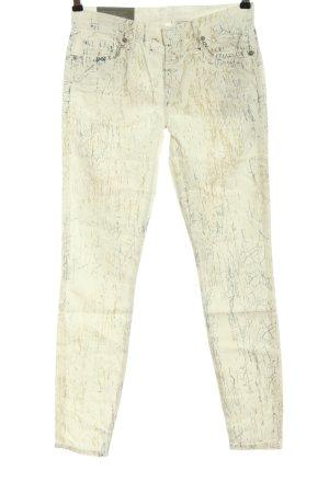 7 For All Mankind Jeans a sigaretta bianco sporco-grigio chiaro stampa integrale