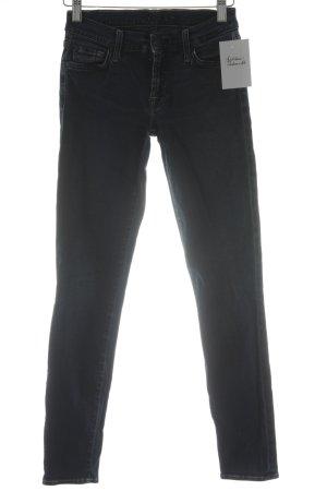 7 For All Mankind Skinny Jeans dunkelblau-wollweiß Washed-Optik