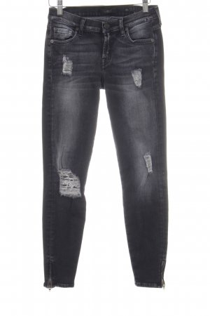 7 For All Mankind Skinny Jeans schwarz-anthrazit Logo-Applikation