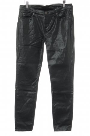 7 For All Mankind Skinny Jeans schwarz-dunkelgrün Glanz-Optik