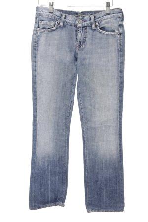 7 For All Mankind Jeansy z prostymi nogawkami błękitny Aplikacja z logo