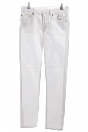 7 For All Mankind Straight-Leg Jeans weiß Logo-Applikation aus Leder